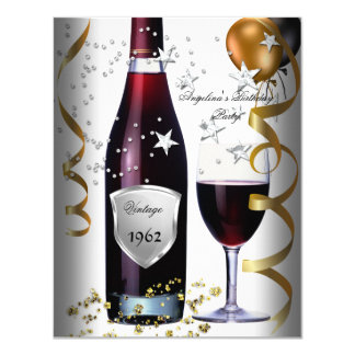 Vintage 50th Birthday Wine Black Gold Balloons 11 Cm X 14 Cm Invitation Card