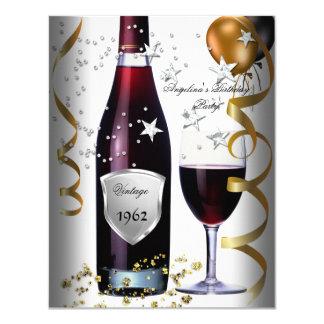 Vintage 50th Birthday Wine Black Gold Balloons Card