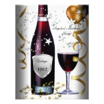 Vintage 50th Birthday Wine Black Gold Balloons Custom Invitation