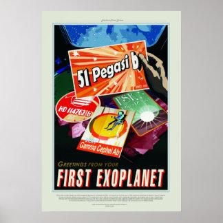 Vintage 51 Pegasi b First Exoplanet Trave Poster