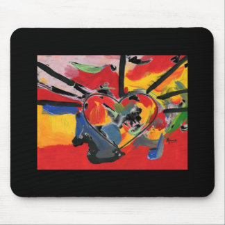 "Vintage 60s colorful heart"" mousepad"