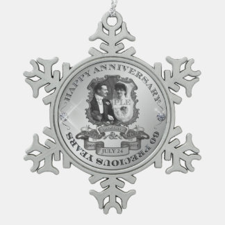 Vintage 60th Anniversary ID195 Pewter Snowflake Decoration