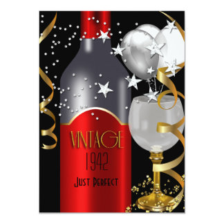 "Vintage 70th Birthday Red Wine Black Gold Silver 4.5"" X 6.25"" Invitation Card"