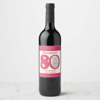 Vintage 80th birthday photo custom wine labels