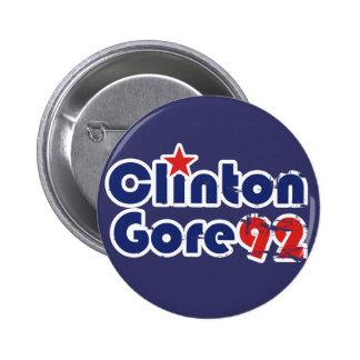 Vintage 90s Clinton Gore 1992 6 Cm Round Badge