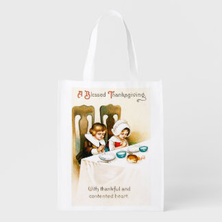 Vintage A Blessed Thanksgiving Reusable Grocery Bag