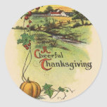 Vintage A Cheerful Thanksgiving Stickers