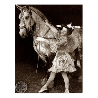 Vintage A Circus Girl and Horse Postcard