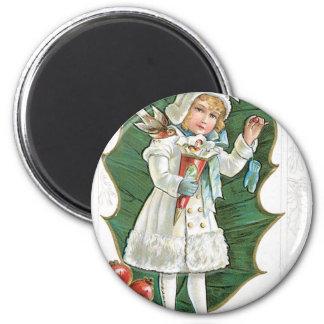 "Vintage ""A Merry Christmas"" girl Refrigerator Magnet"