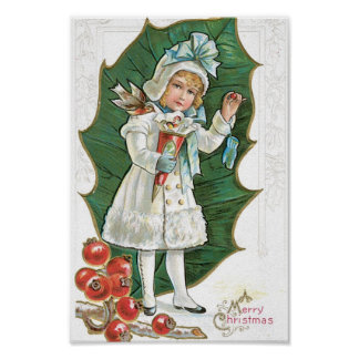 "Vintage ""A Merry Christmas"" girl Poster"