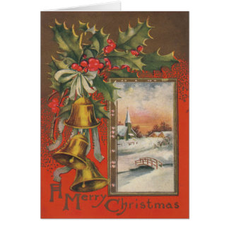 "Vintage ""A Merry Christmas"" Winter Village Card"