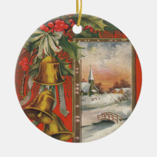 """Vintage """"A Merry Christmas"""" with Christmas Bells Round Ceramic Decoration"""