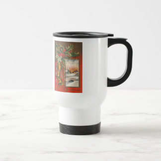 "Vintage ""A Merry Christmas"" with Christmas Bells Stainless Steel Travel Mug"