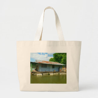 Vintage Abandoned Boat Dock House on Water Large Tote Bag