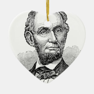 Vintage Abe Lincoln Bust Ceramic Ornament