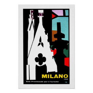 Vintage abstract Italian Travel poster Milan
