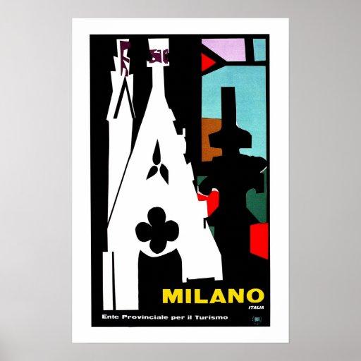 Vintage abstract Italian Travel poster Milan