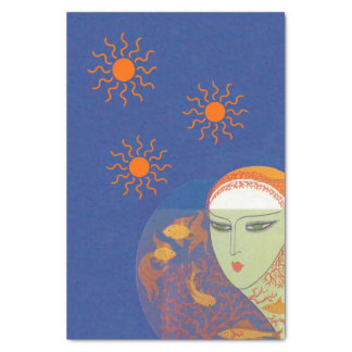Vintage Abstract Lady Behind Gold Fish Bowl Sun Tissue Paper