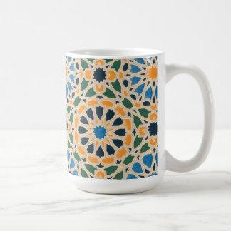 Vintage Abstract Quilt Inspired Tile Fabric Basic White Mug
