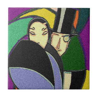 Vintage Abstract Townie Couple Deco ceramic Tile