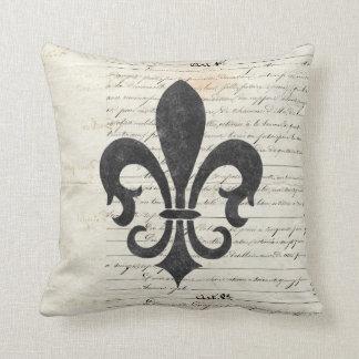 Vintage Accents French Ephemera Fleur De Lis Cushion