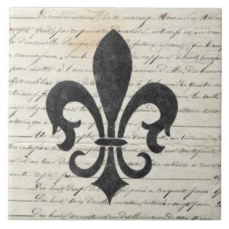 Vintage Accents French Ephemera Fleur De Lis Large Square Tile
