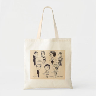 Vintage Actor Actress Caricatures Tote Bag