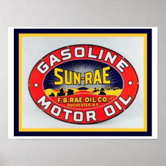 Vintage Ad Sun-Rae Gasoline Poster 12 x 16