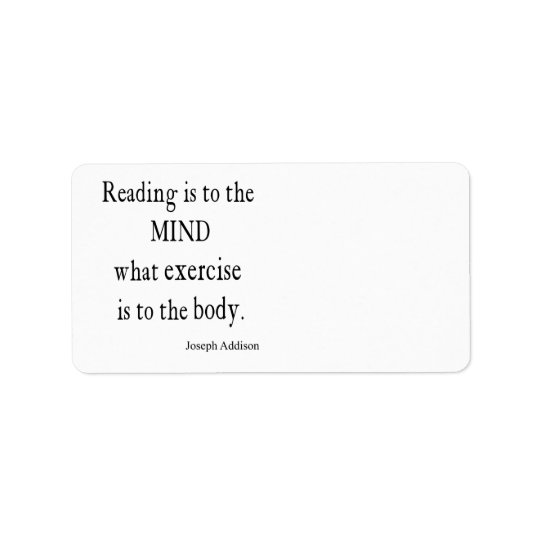Vintage Addison Reading Mind Inspirational Quote Address Label