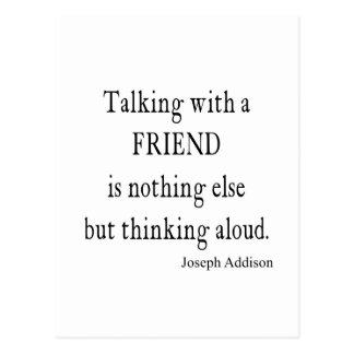 Vintage Addison Talking w Friend Friendship Quote Postcard