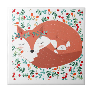 Vintage adorable cute mother fox wolf and her baby ceramic tile