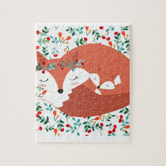 Vintage adorable cute mother fox wolf and her baby jigsaw puzzle