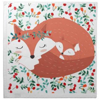Vintage adorable cute mother fox wolf and her baby napkin
