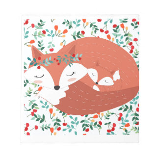 Vintage adorable cute mother fox wolf and her baby notepad