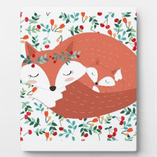 Vintage adorable cute mother fox wolf and her baby plaque