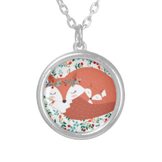 Vintage adorable cute mother fox wolf and her baby silver plated necklace