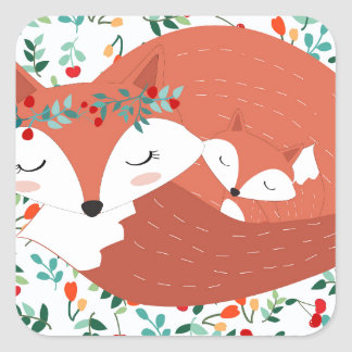 Vintage adorable cute mother fox wolf and her baby square sticker