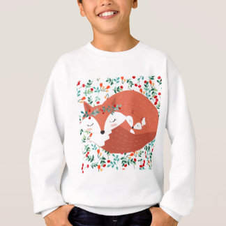 Vintage adorable cute mother fox wolf and her baby sweatshirt