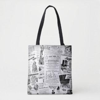 Vintage Ads Tote Bag in Black and White