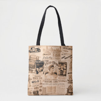 Vintage Ads Tote Bag in Sepia