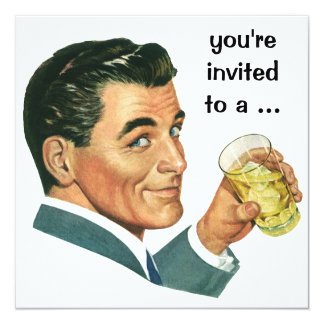 Vintage Adult Male Birthday Party Cocktails Cheers 13 Cm X 13 Cm Square Invitation Card