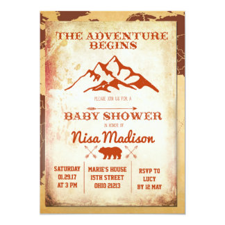 Vintage adventure Begins Baby Shower Invitation