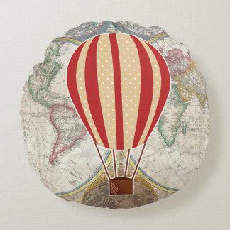 Vintage Adventure Hot Air Balloon World Map Round Cushion