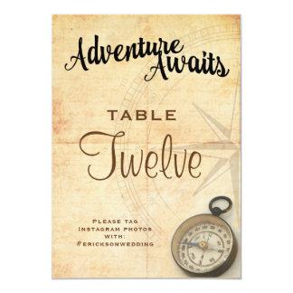 Vintage Adventure Travel Wedding Table Number Card