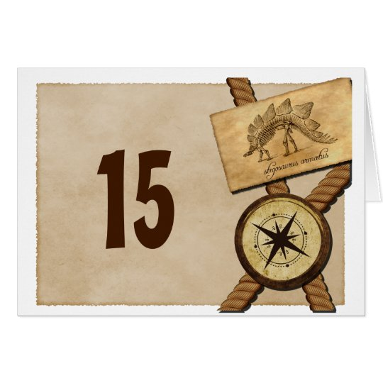 Vintage Adventure Wedding Table Number Card