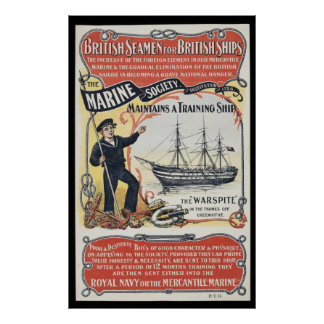 Vintage Advertisement for British Seamen Nautical Poster