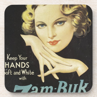 Vintage Advertisement Hand Cream Woman Blond Hair Coasters