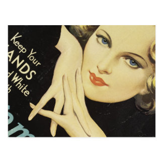Vintage Advertisement Hand Cream Woman Blond Hair Postcard