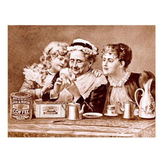 Vintage Advertisement label for Coffee & Tea Postcard