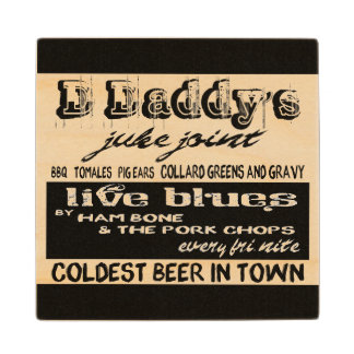 Vintage Advertising Blues Music Wood Coaster